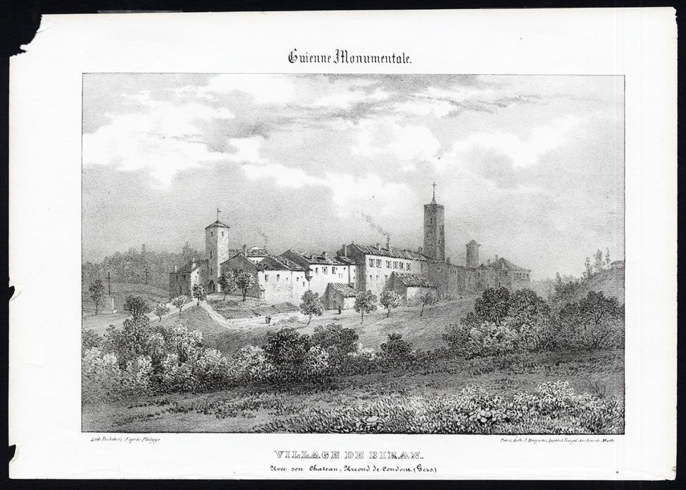Antique Print-CASTLE-BIRAN-CONDOM-GERS-FRANCE-Ducourneau-1842