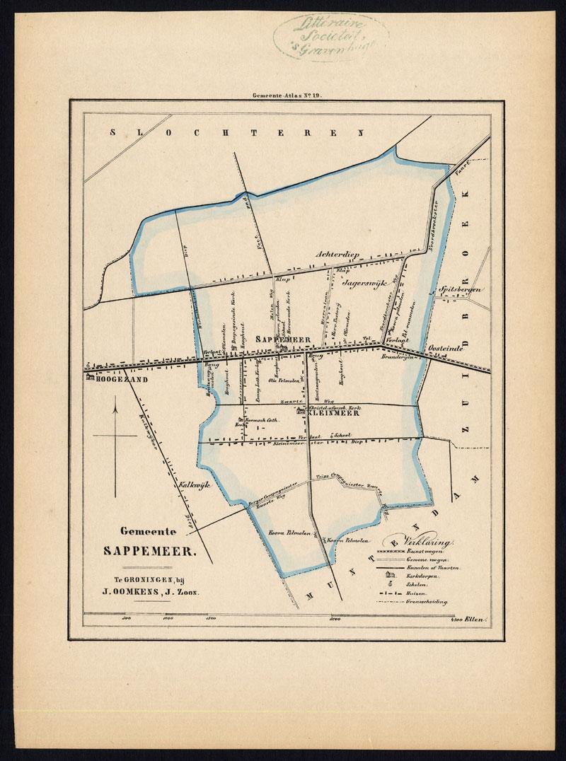 ANTIQUE MAP-NETHERLANDS-TOWN PLAN-KLEINMEER-SAPPERMEER-GRONINGEN ...