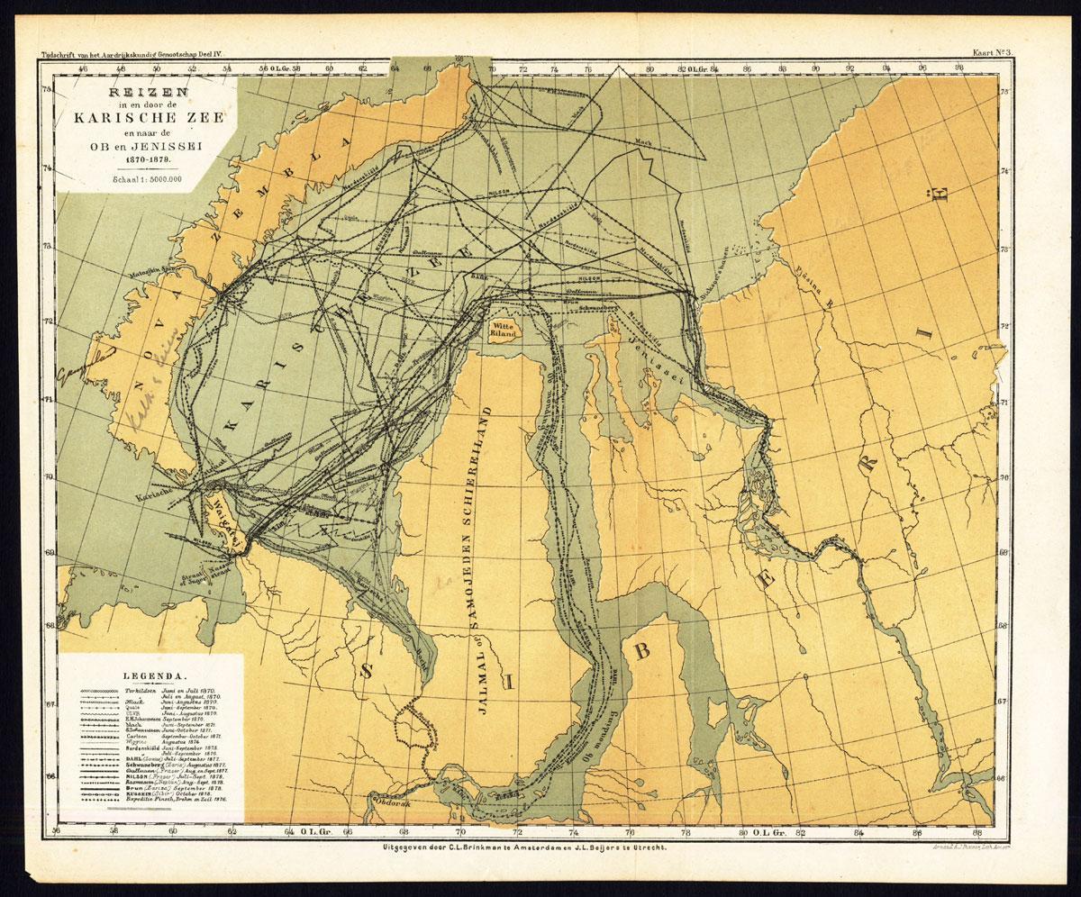 Antique Map-KARA SEA-OB-YENISEI-NOVA ZEMBLA-ARCTIC REGION-RUSSIA ...