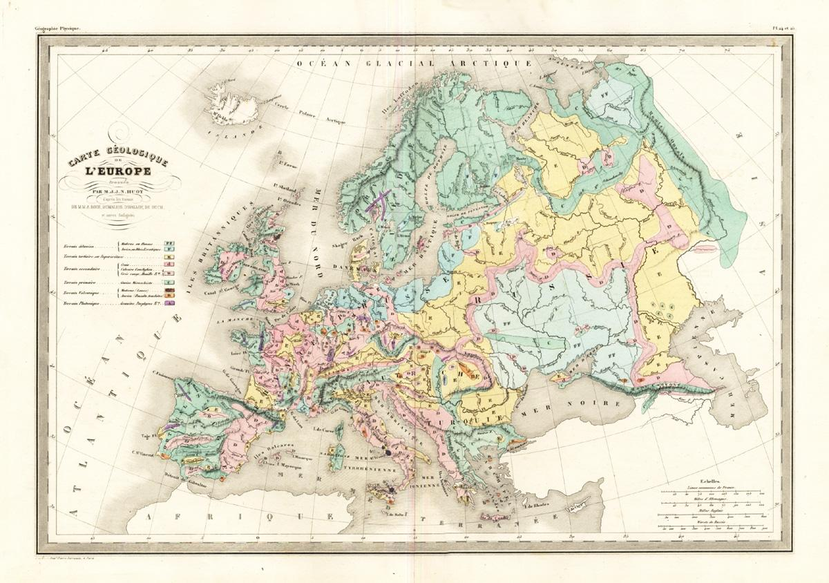 Antique Map Europe Geology Malte Brun Sarrazin 1880
