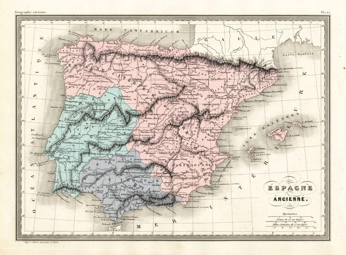 Antique Map Ancient Spain Portugal Malte Brun Sarrazin 1880