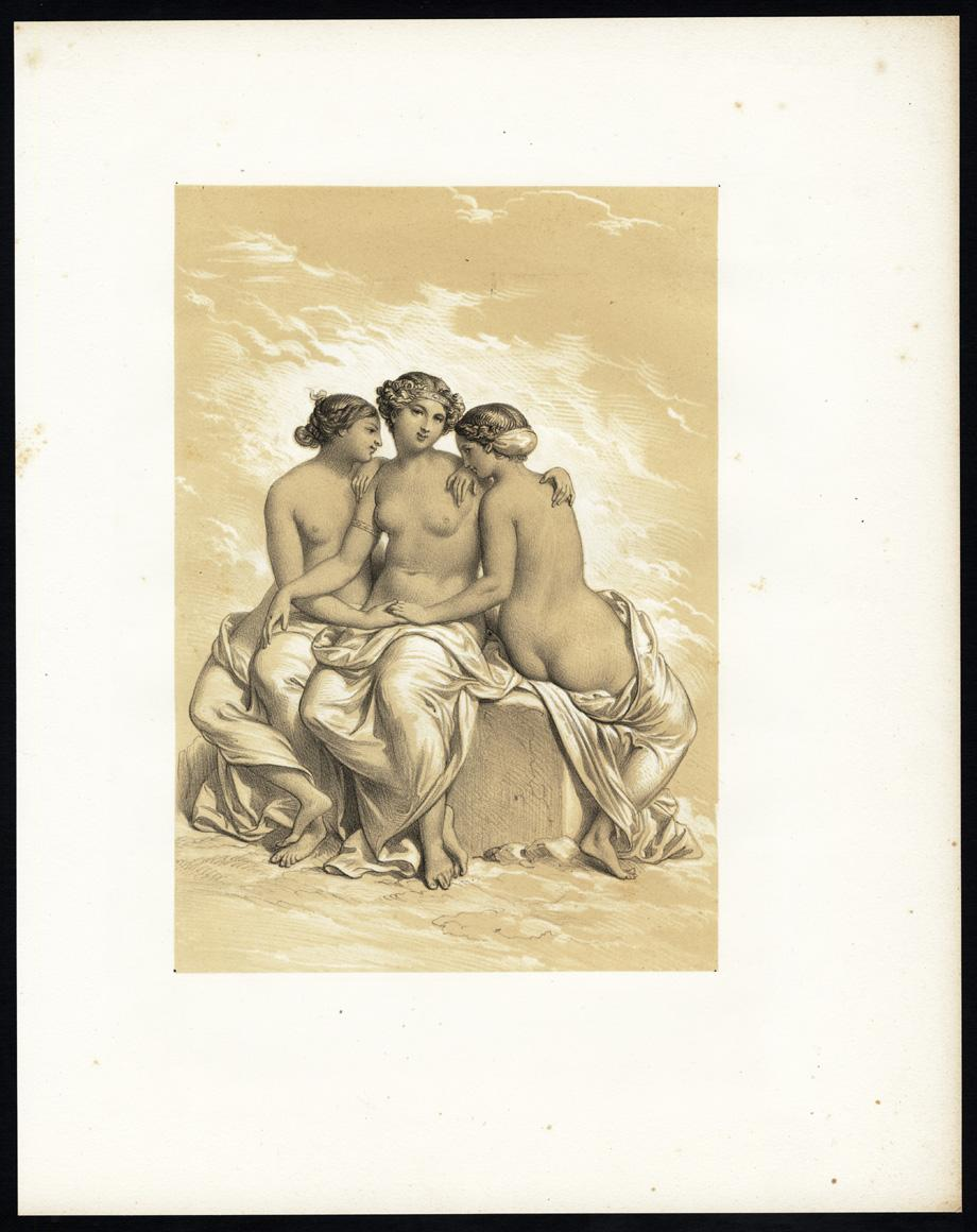 Antique Print-FEMALE-NUDE-SITTING-BOULDER-1850