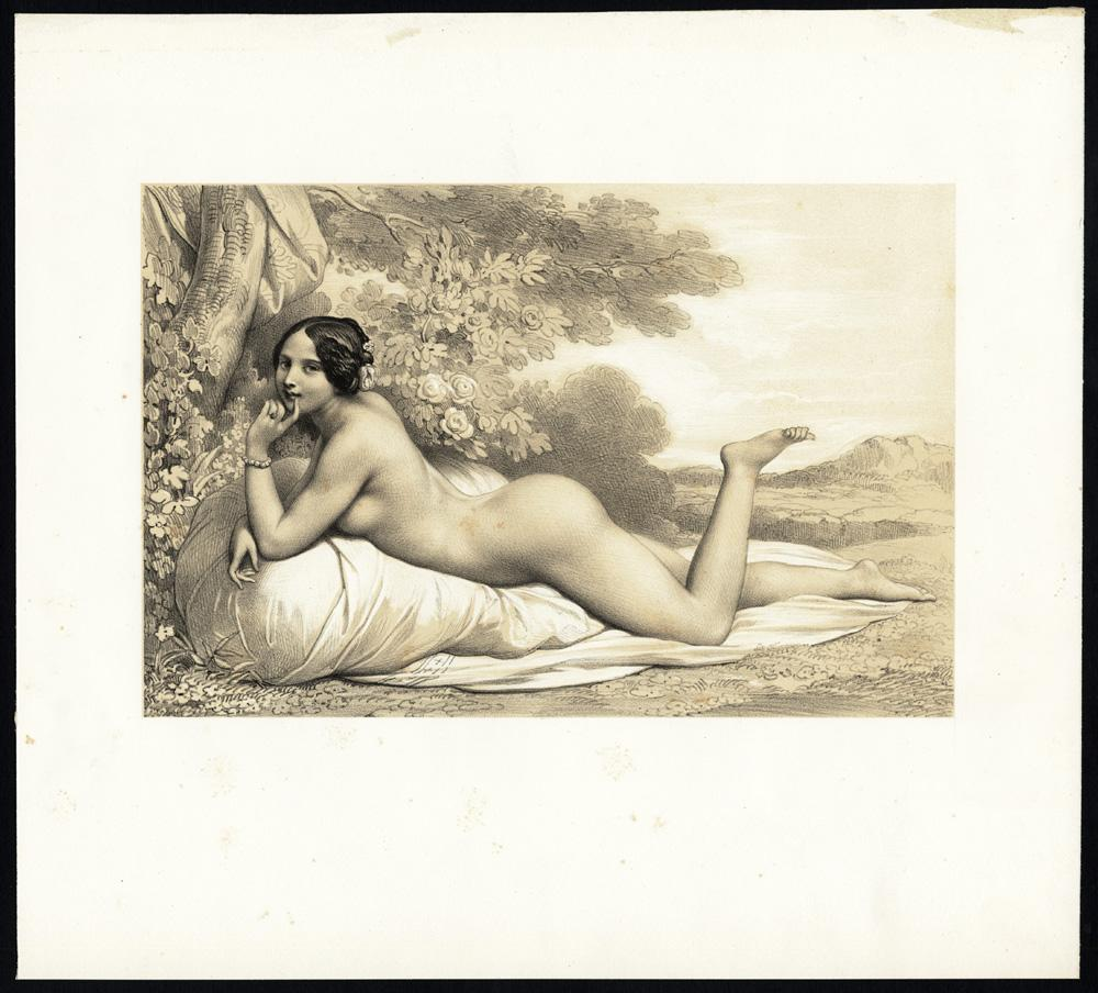 Antique Print-FEMALE-NUDE-RECLINING-TREE-1850