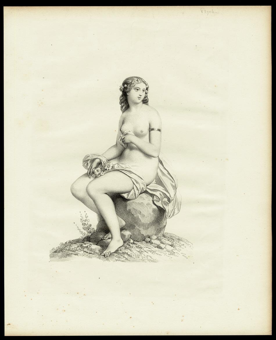 Antique Print-FEMALE-NUDE-SITTING-BOULDER-FLOWERS-NOSEGAY-POSY-GARLAND-1850