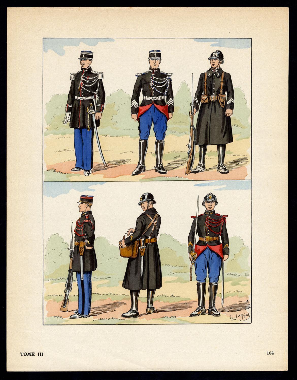 Antique Print Military France Uniform