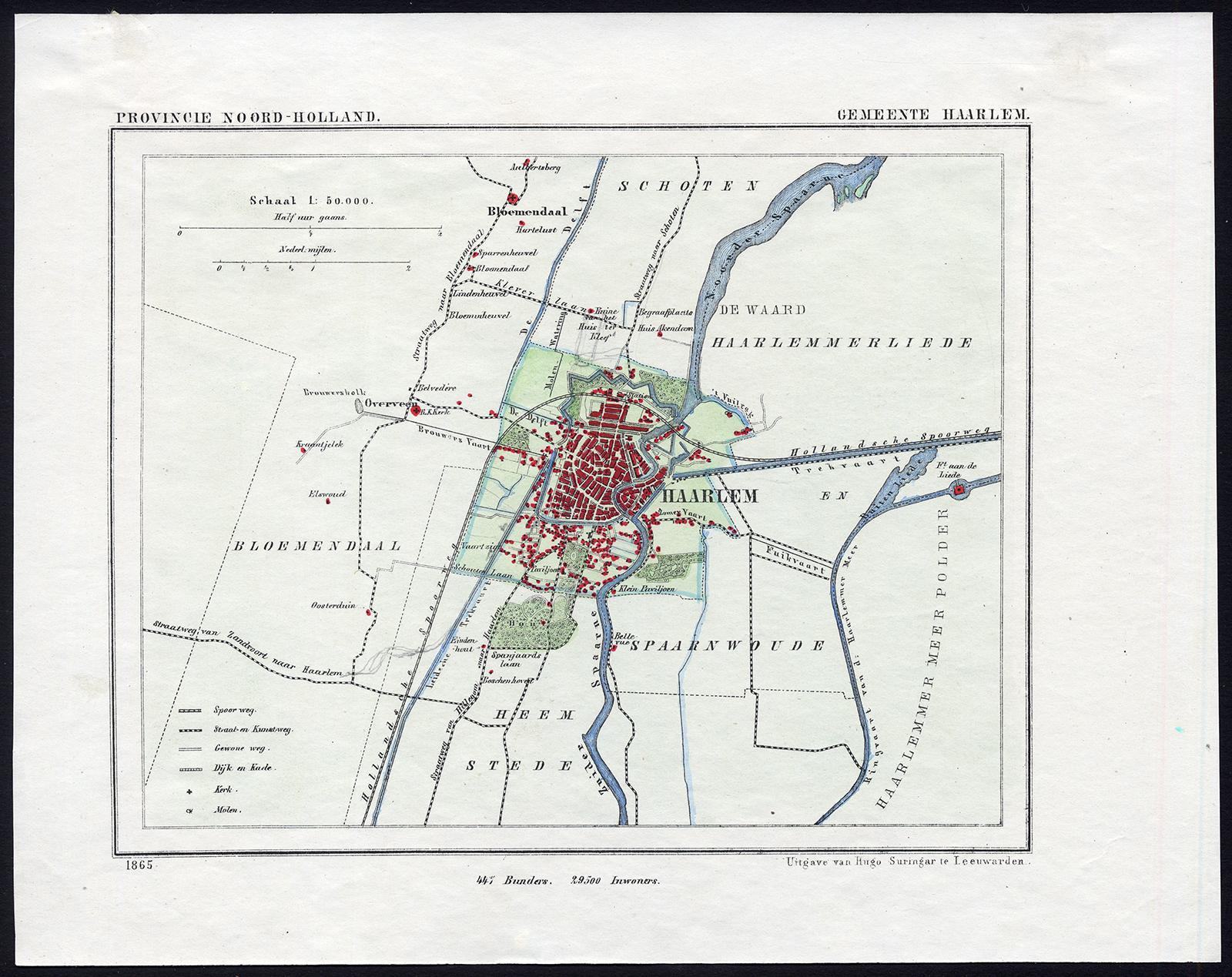 Antique Map-NETHERLANDS-HAARLEM-REGION-NOORD HOLLAND-Kuyper-Kuijper ...