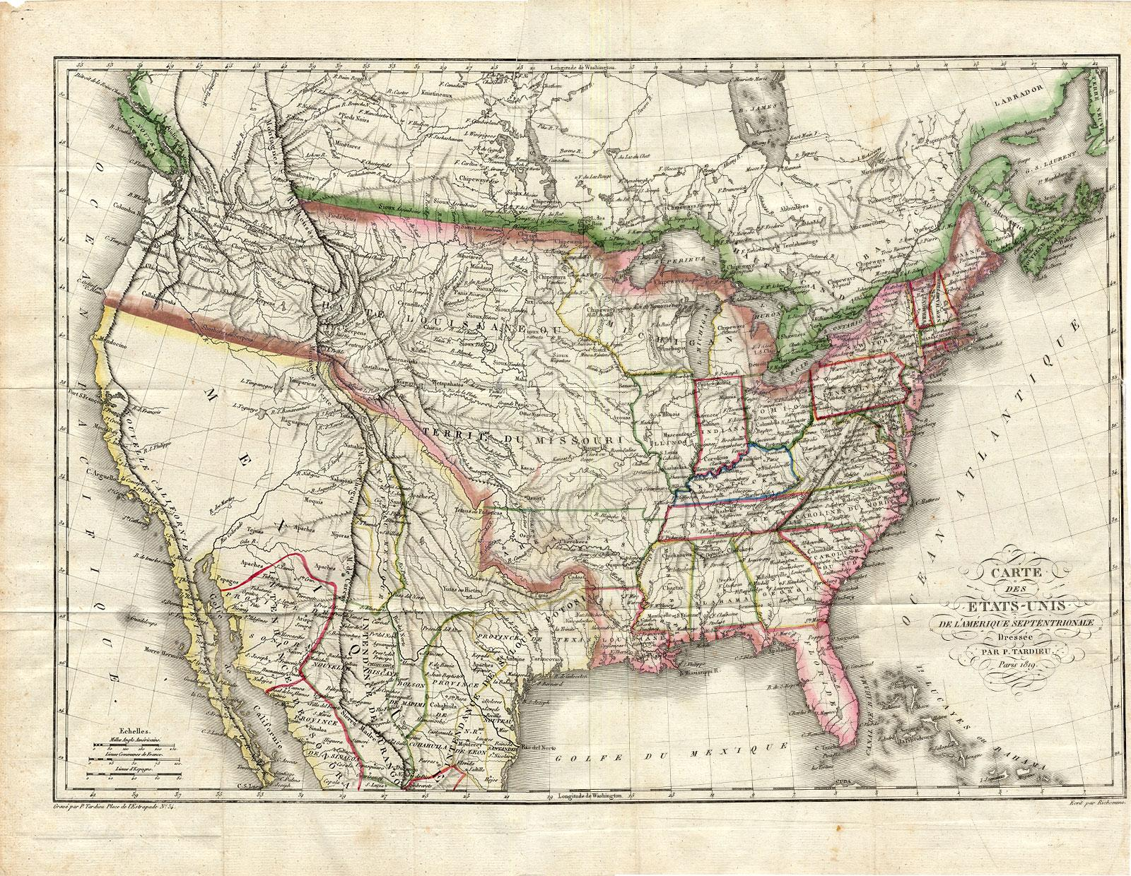 Rare Antique Map-UNITED STATES-NORTH ...