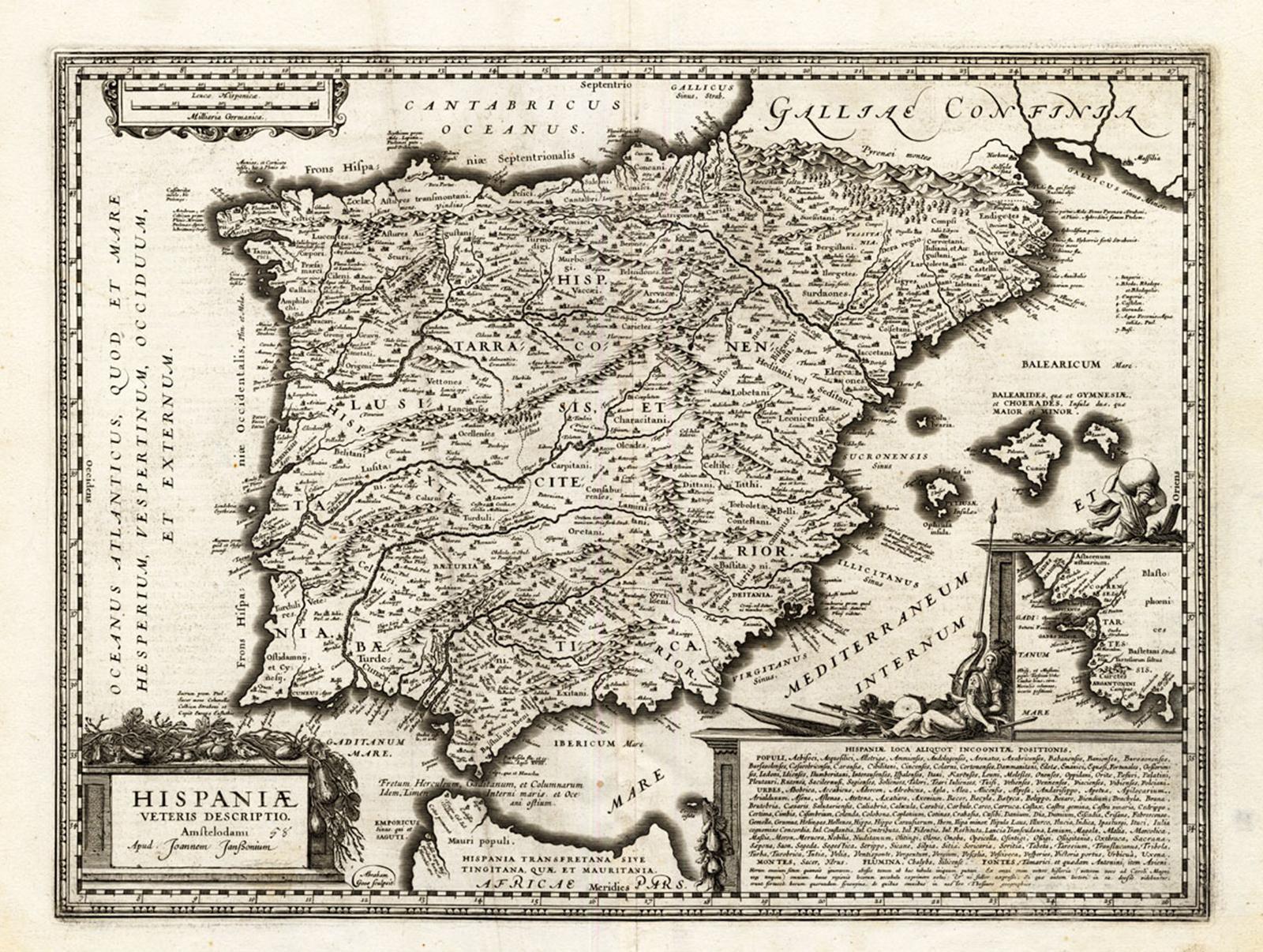 Map Of Spain Old.Antique Map Old Spain Hondius Janssonius 1633