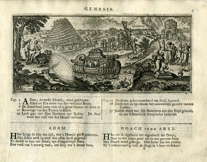 Antique Religious Print-ADAM-EVE-BABEL-NOAH-Borcht-1717
