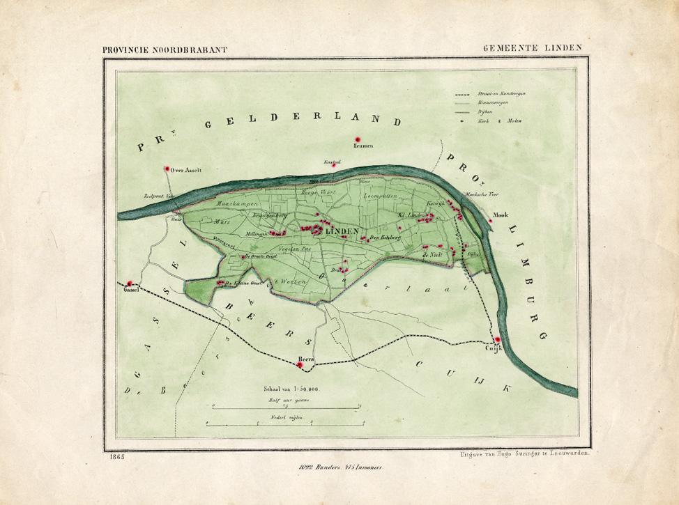 Antique Map-NETHERLANDS-LINDEN-NOORD BRABANT-KUYPER-1865 ...