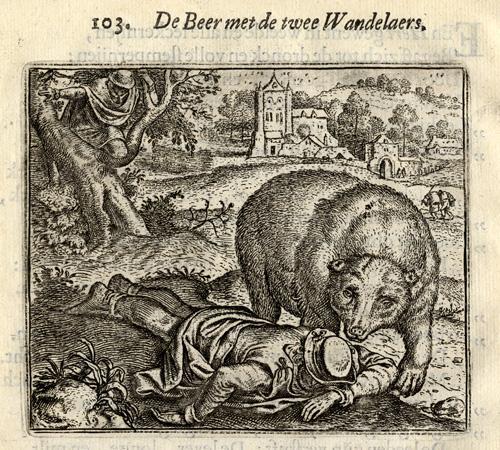 Antique Print-BEAR-STROLLERS-Vondel-Geraerts-1720 Emblem 103. ' De Beer met de twee Wandelaers.' (The Bear and the two strollers). Quotation under engraving by Polyaenus. Copy of accompanying poem by