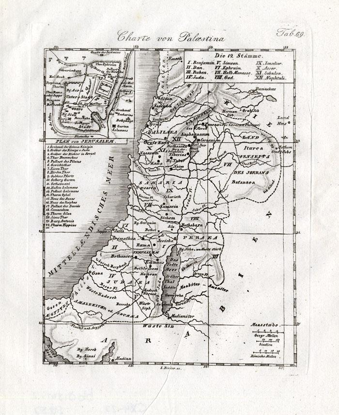 Antique Map-PALESTINE-JERUSALEM-ISRAEL-Czech-1844: - ThePrintsCollector