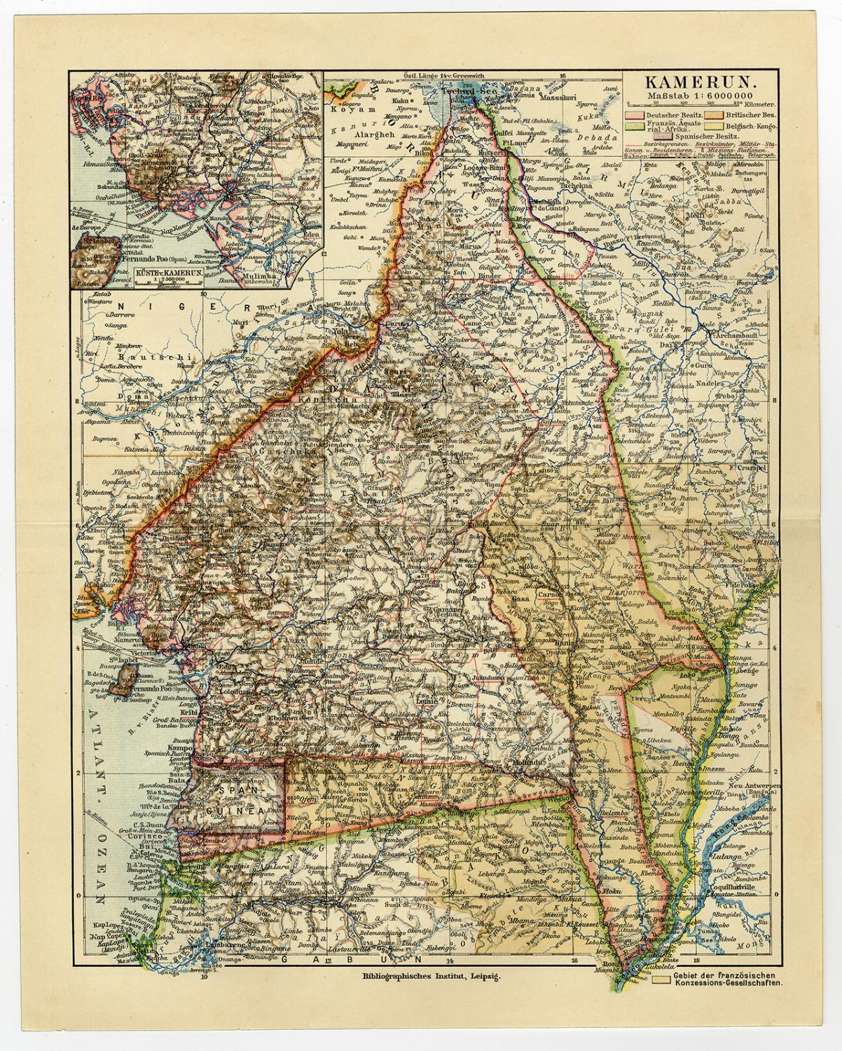 Antique Map-CAMEROON-AFRICA-Meyers-1902: - ThePrintsCollector on