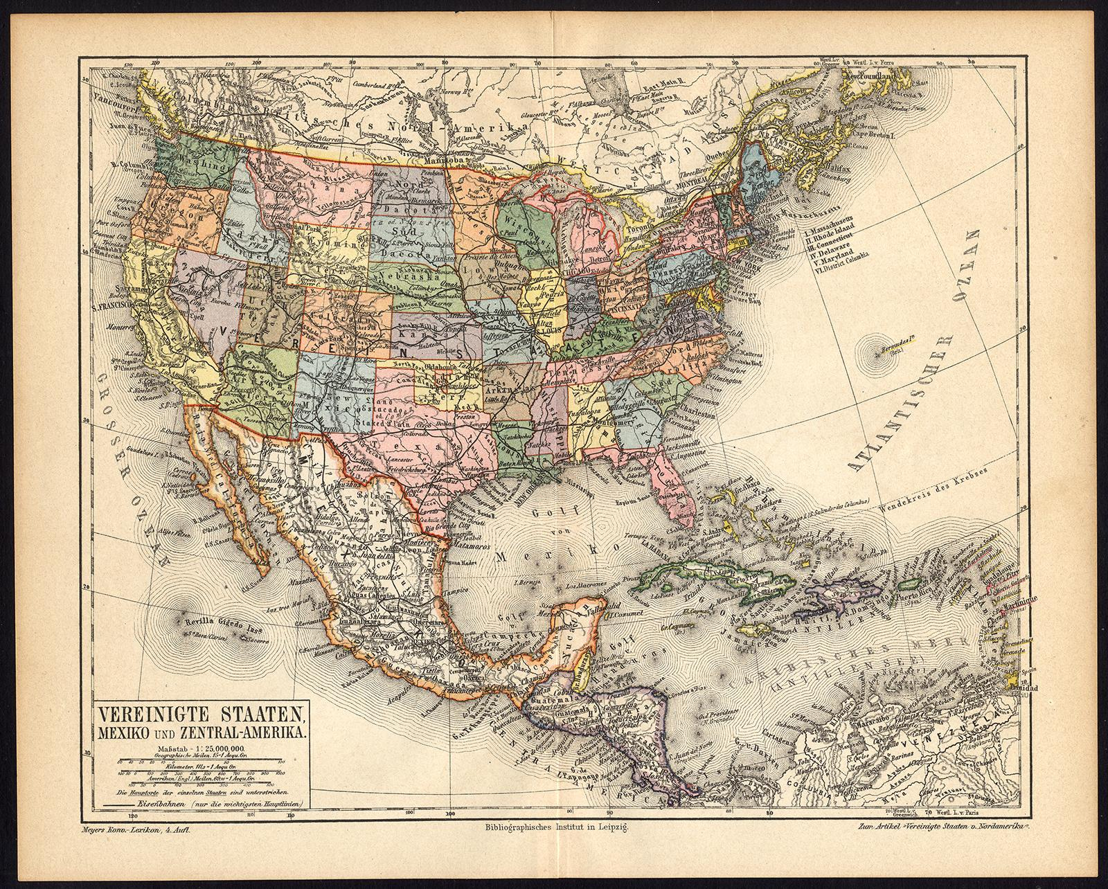 Antique Map-USA-NORTH AMERICA-MEXICO-Meyers-...