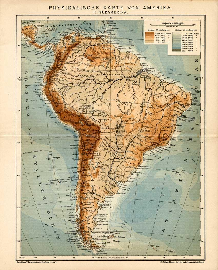 Antique Map-SOUTH AMERICA-PHYSICS-Meyers-1895   [ ] (bi_22589567366) photo