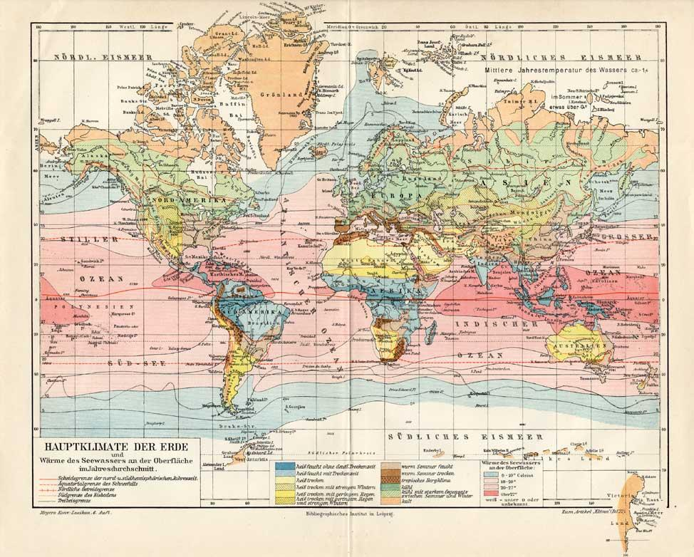 Map Of The World Picture.Antique Map Climate Zone World Map Meyers