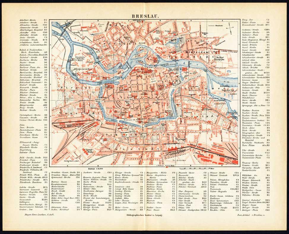 Antique Map Breslau Germany Meyers 1895 Theprintscollector