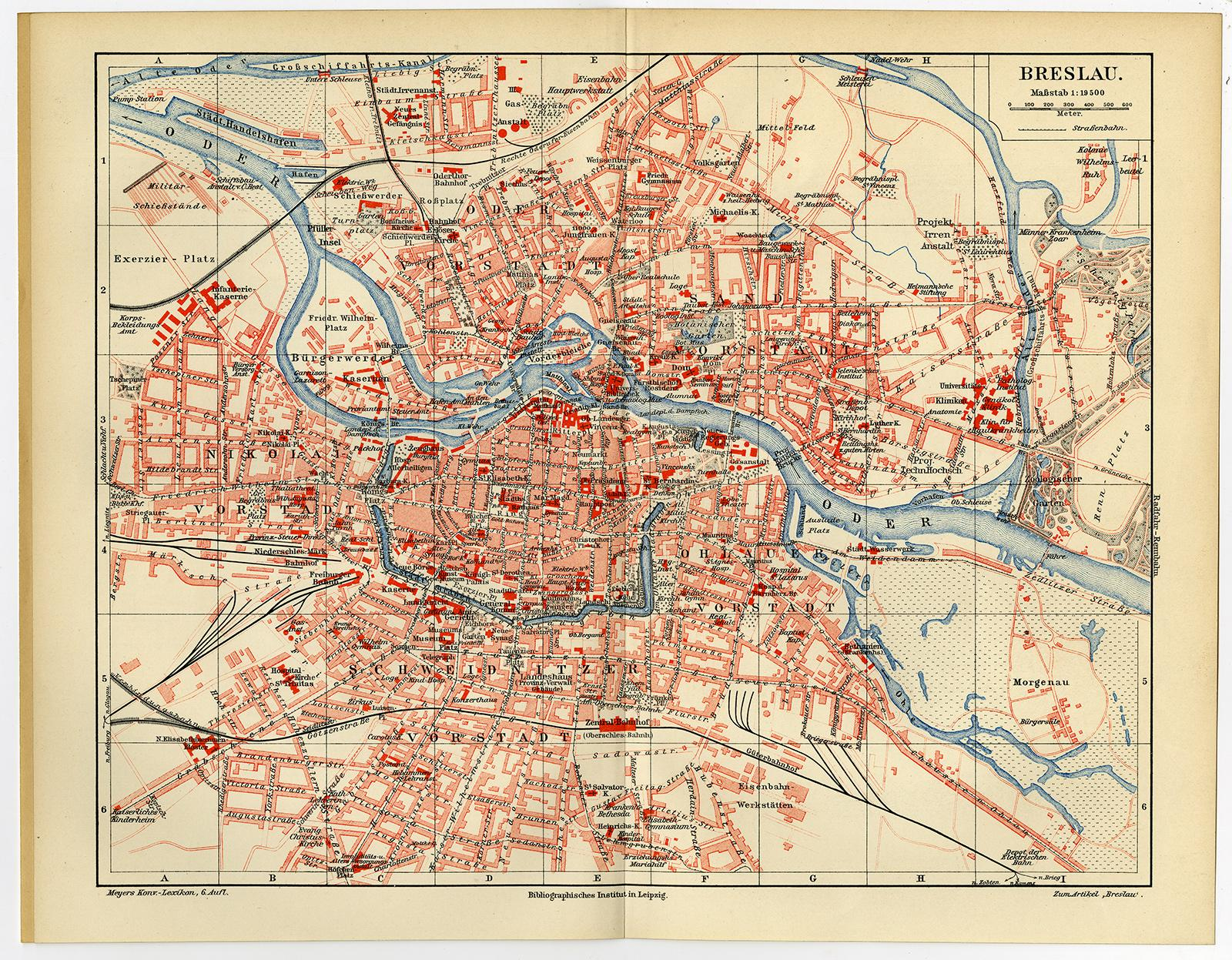 Antique Map-BRESLAU-CITY-GERMANY-Meyers-6th ...