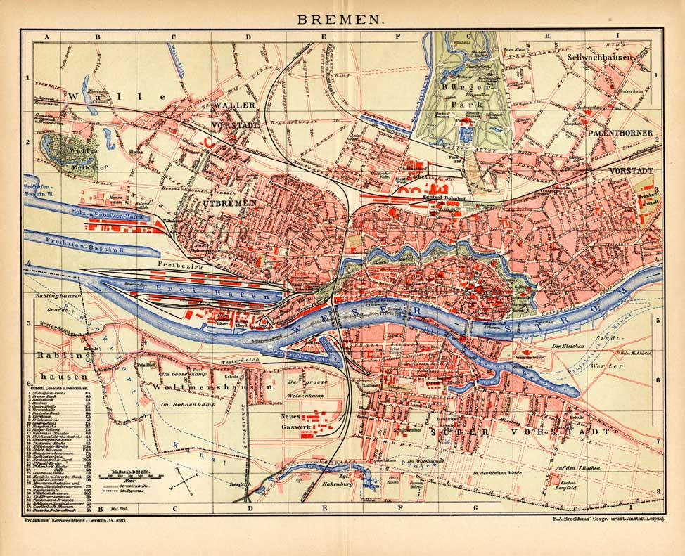 Map Of Bremen Germany.Antique Map Bremen Germany City Plan Meyers