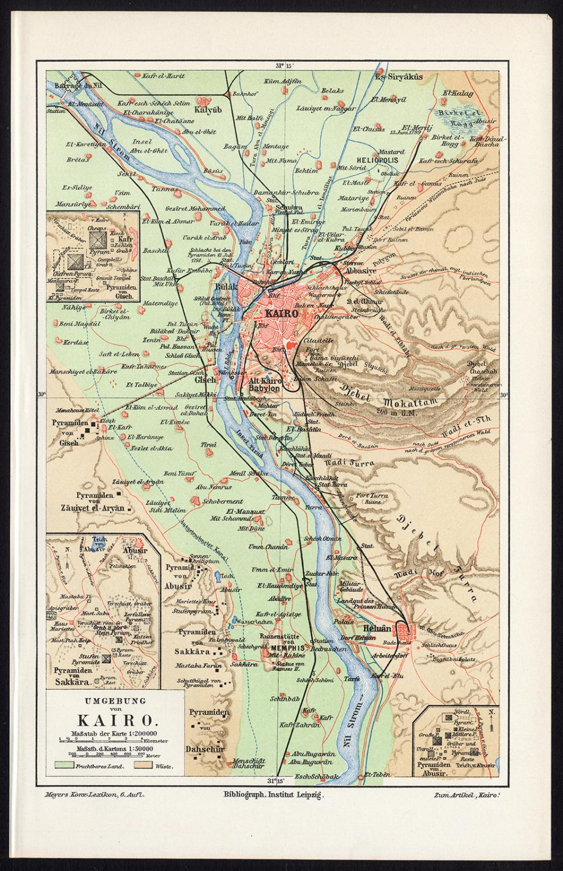 Antique Plan-CAIRO-EGYPT-NILE-REGION-PYRAMIDS-Meyers-1895 ... on