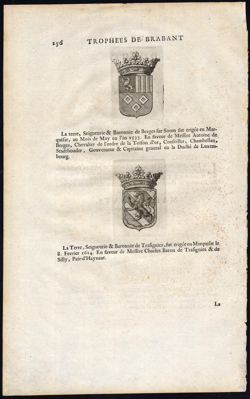 Antique Print-BERGEN OP ZOOM-AARSCHOT-Butkens-1724 Coat of arms: 'Duche - Marquisats'. Sheet with 2 engraved coats of arms of Aarschot on one side, and coats of arms of Bergen op Zoom and Trasignies on