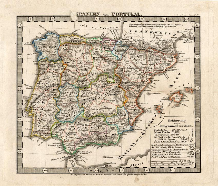 Antique Map-SPAIN-PORTUGAL-EUROPE-1850
