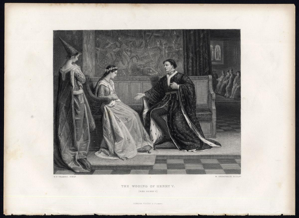 Antique Print-KING HENRY V-ENGLAND-LADIES-Shakespeare-Knight-1873