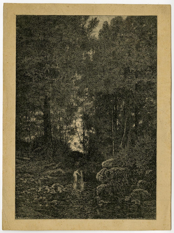 Antique Print-LANDSCAPE-FOREST-NUDE-WASHING-Breton-Pirodon-Comte-ca. 1860
