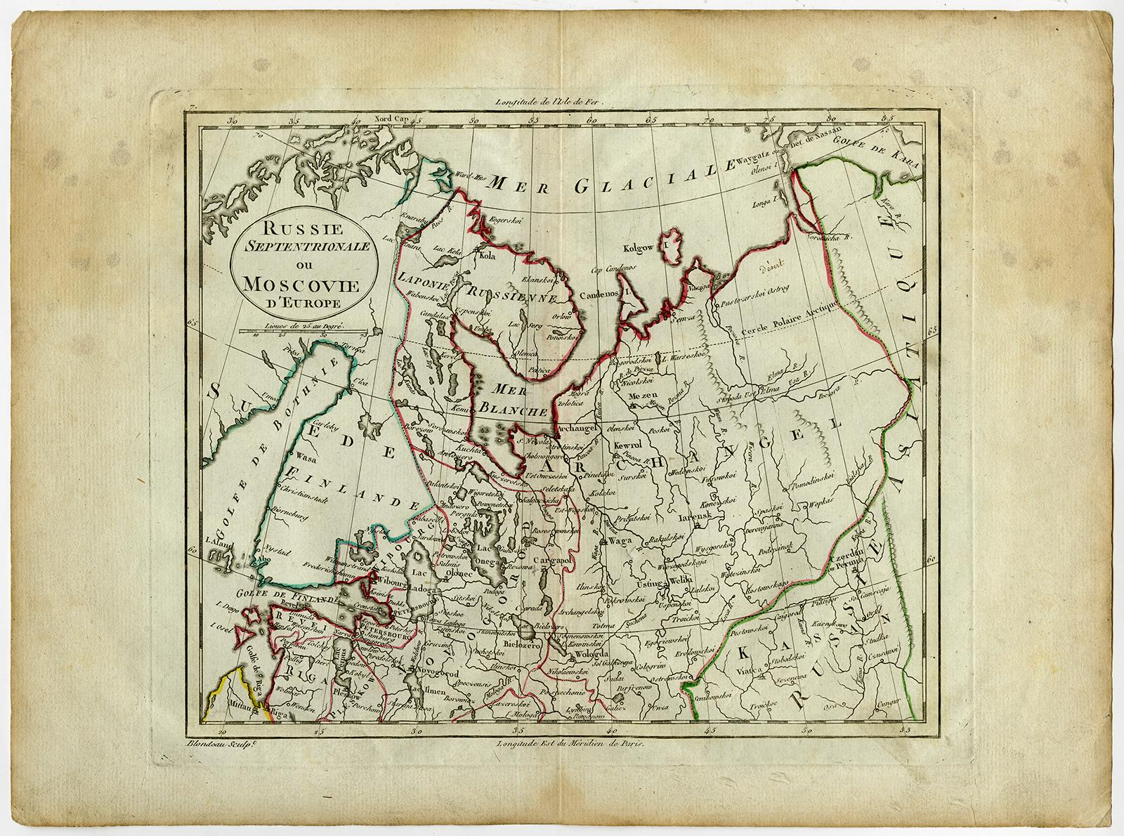 Antique Map-RUSSIA-EUROPE-FINLAND-Blondeau-1800: - ThePrintsCollector