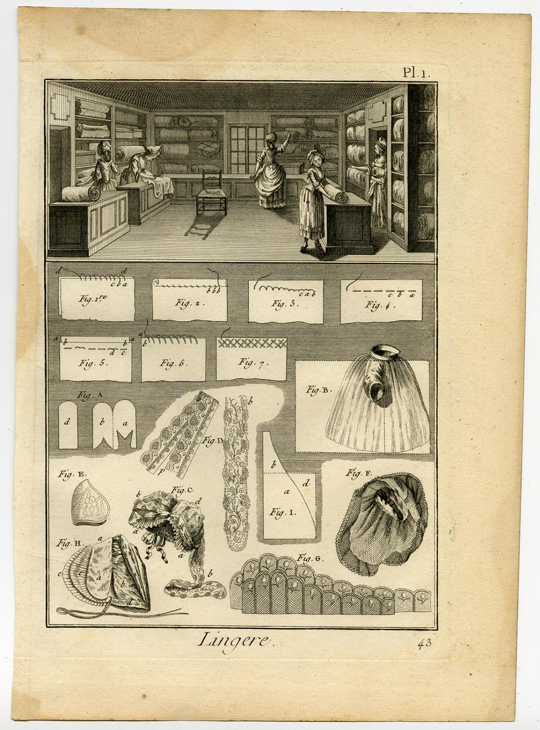 2 Antique Prints-LINGERE-LINGERIE-UNDERCLOTHES-NIGHT DRESS-Diderot-Benard-1779 2 Antique prints, titled: 'Lingere.' - Plate 1-2: 'Lingere'. This plate shows a lingerie shop and fabric patterns for lingerie: underclothes and night
