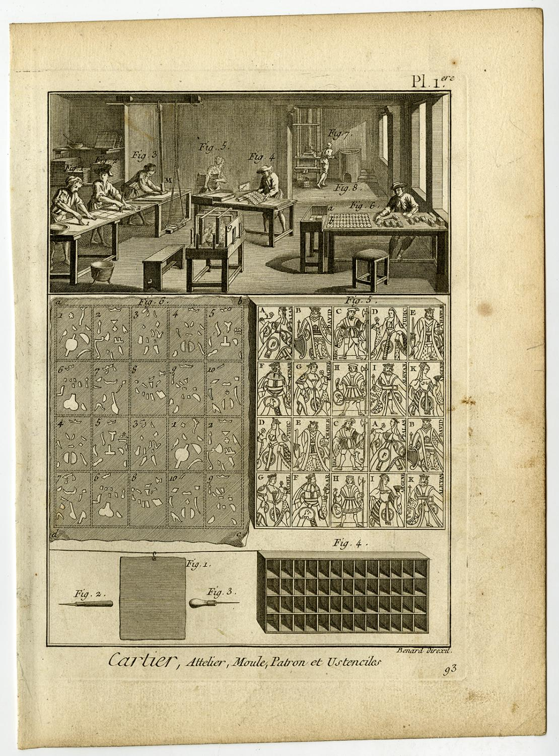 6 Antique Prints-CARTIER-PLAYING CARDS MAKING-Diderot-Benard-1779 6 Antique prints, titled: 'Cartier.' - Plate 1-6: 'Cartier.' This complete set shows a cardmaking workshop, with mold, colouring matrices, engraving t
