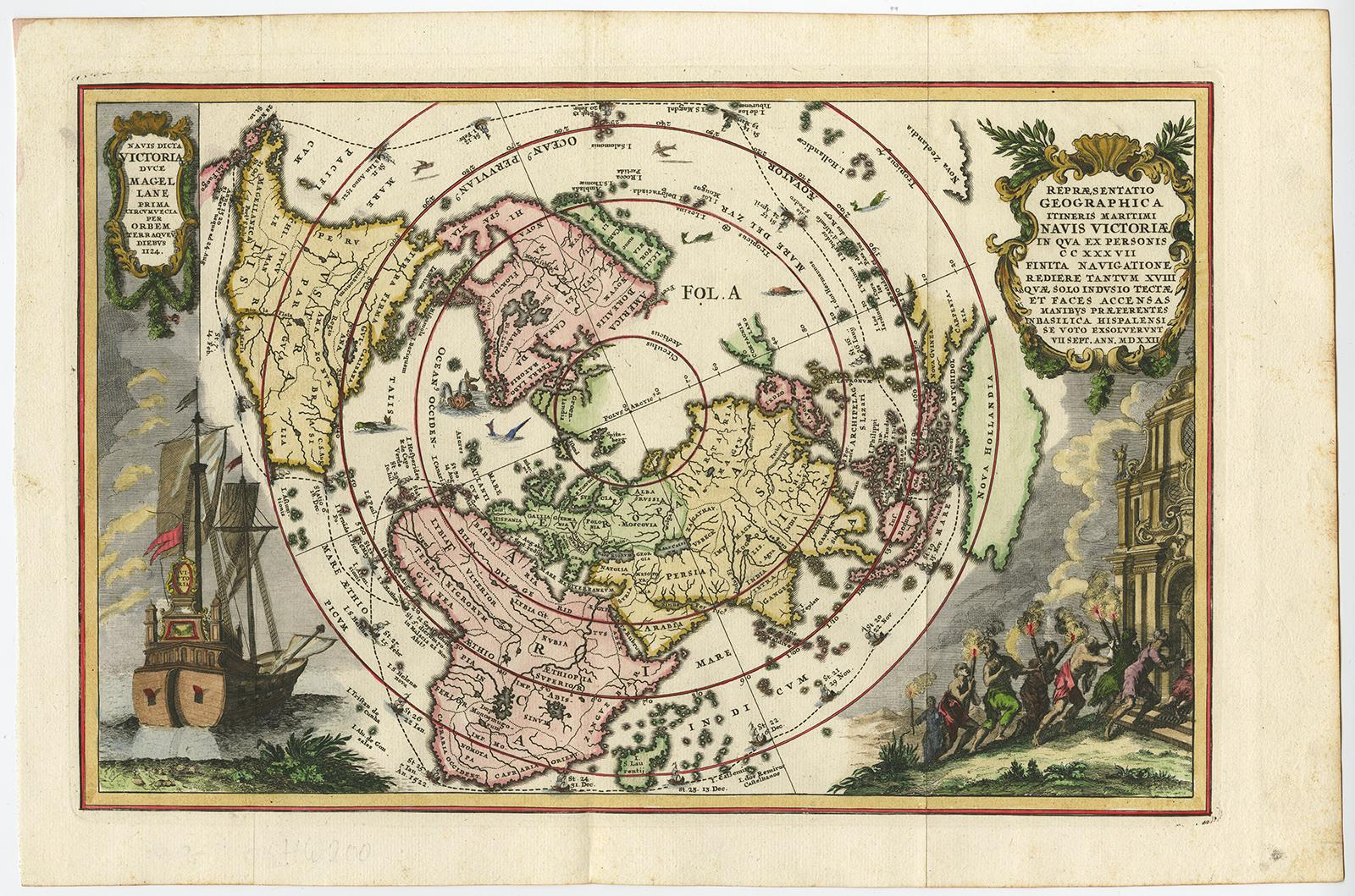 Antique Print-WORLD MAP-MAGELLAN-VICTORIA-SHIP-Scherer-c. 1700 ...