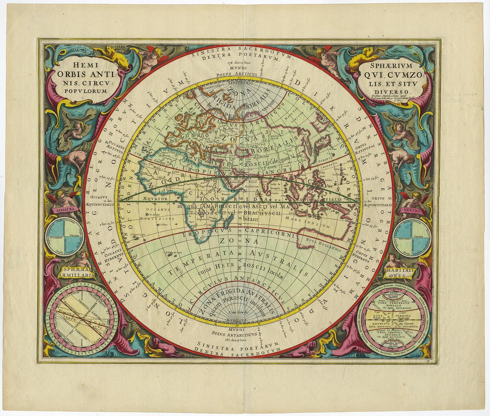 viaLibri ~ Antique Print-WORLD MAP-EASTERN HEMISPHERE-Cellarius-Valk ...