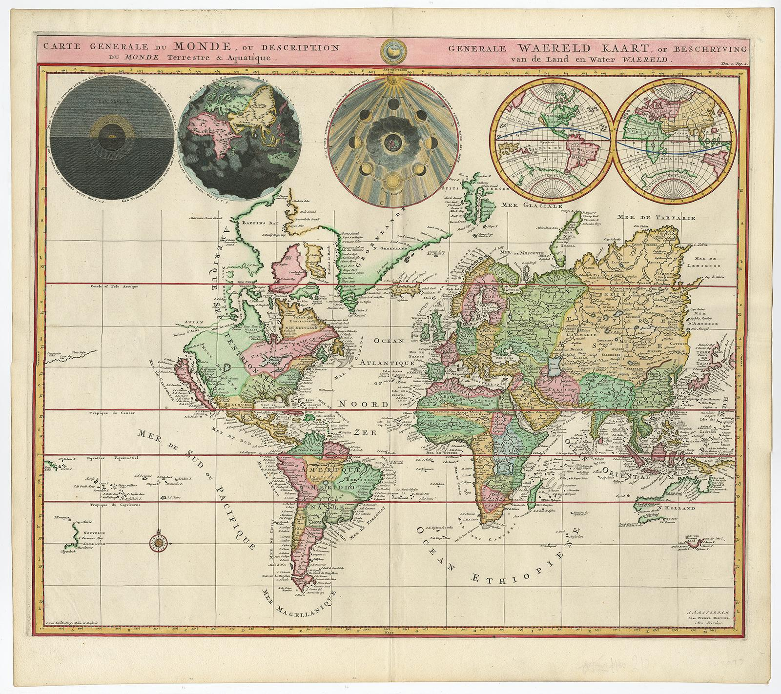 Vialibri Antique Print World Map Mercator S Projection Mortier C 1700