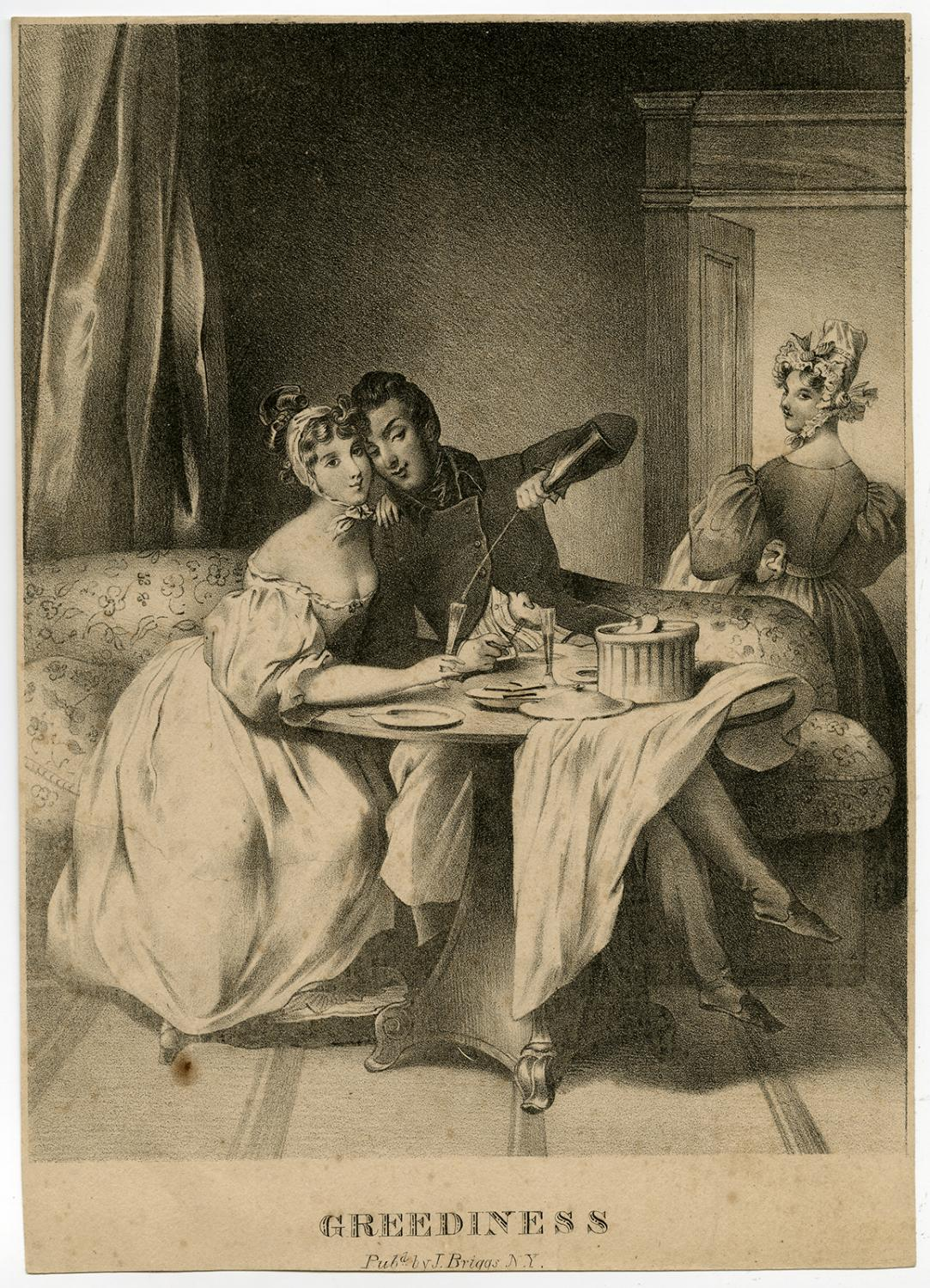 Antique Master Print-GENRE-DRINKING-COUPLE-GREEDINESS-Anonymous-ca. 1840