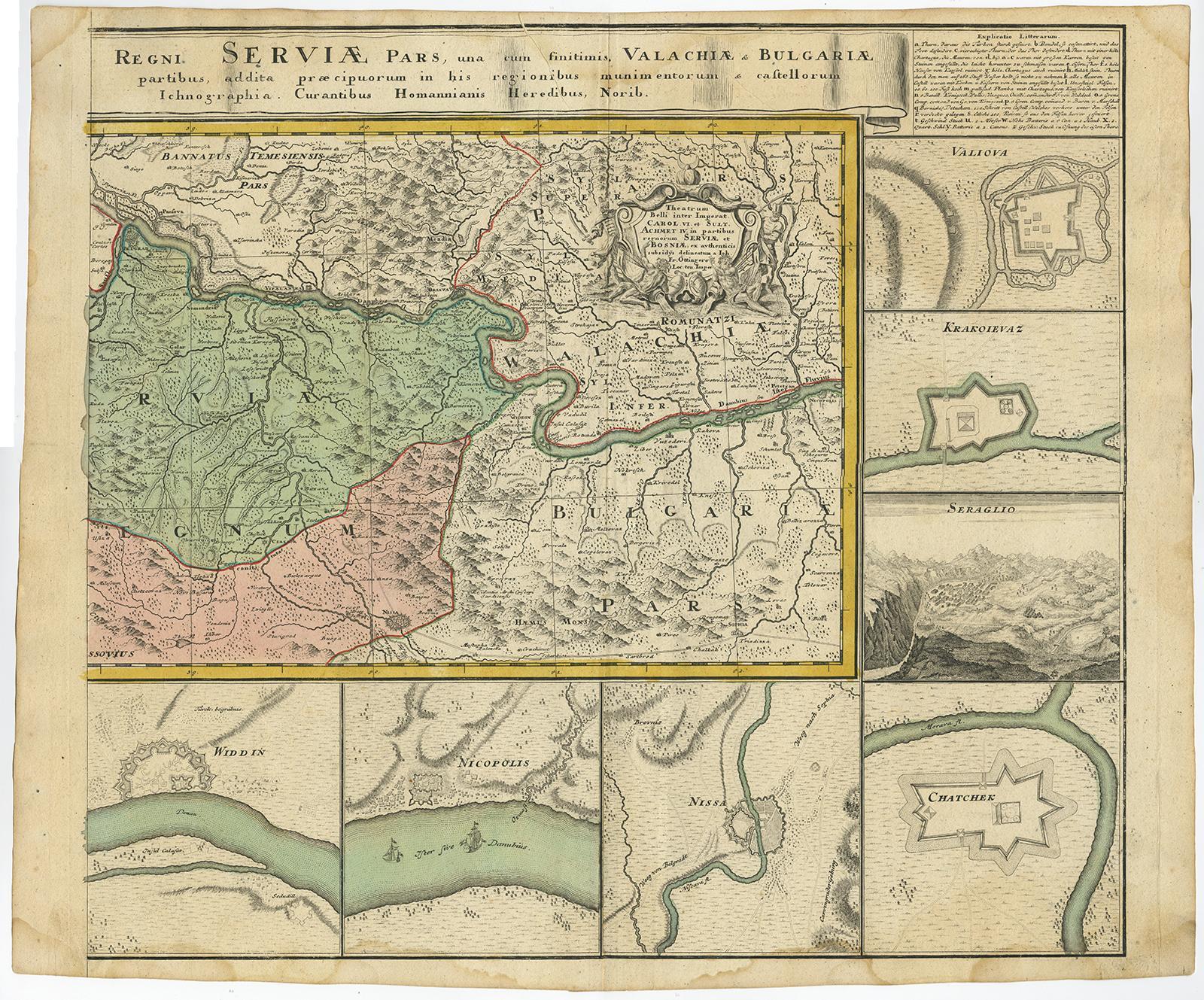 Antique MapsDANUBEBALKANSCROATIASERBIABOSNIADALMATIAHomann - Pars map