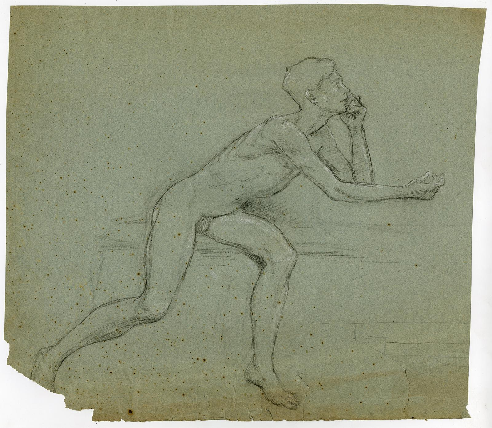 Antique Drawing-GENRE-ACADEMY-NUDE-STUDY-Anonymous-ca. 1920