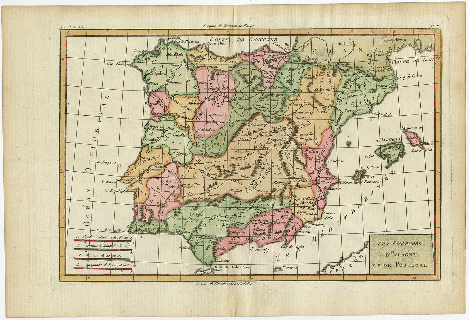 Map Of Portugal And Spain Detailed.Antique Map Spain Portugal Iberian
