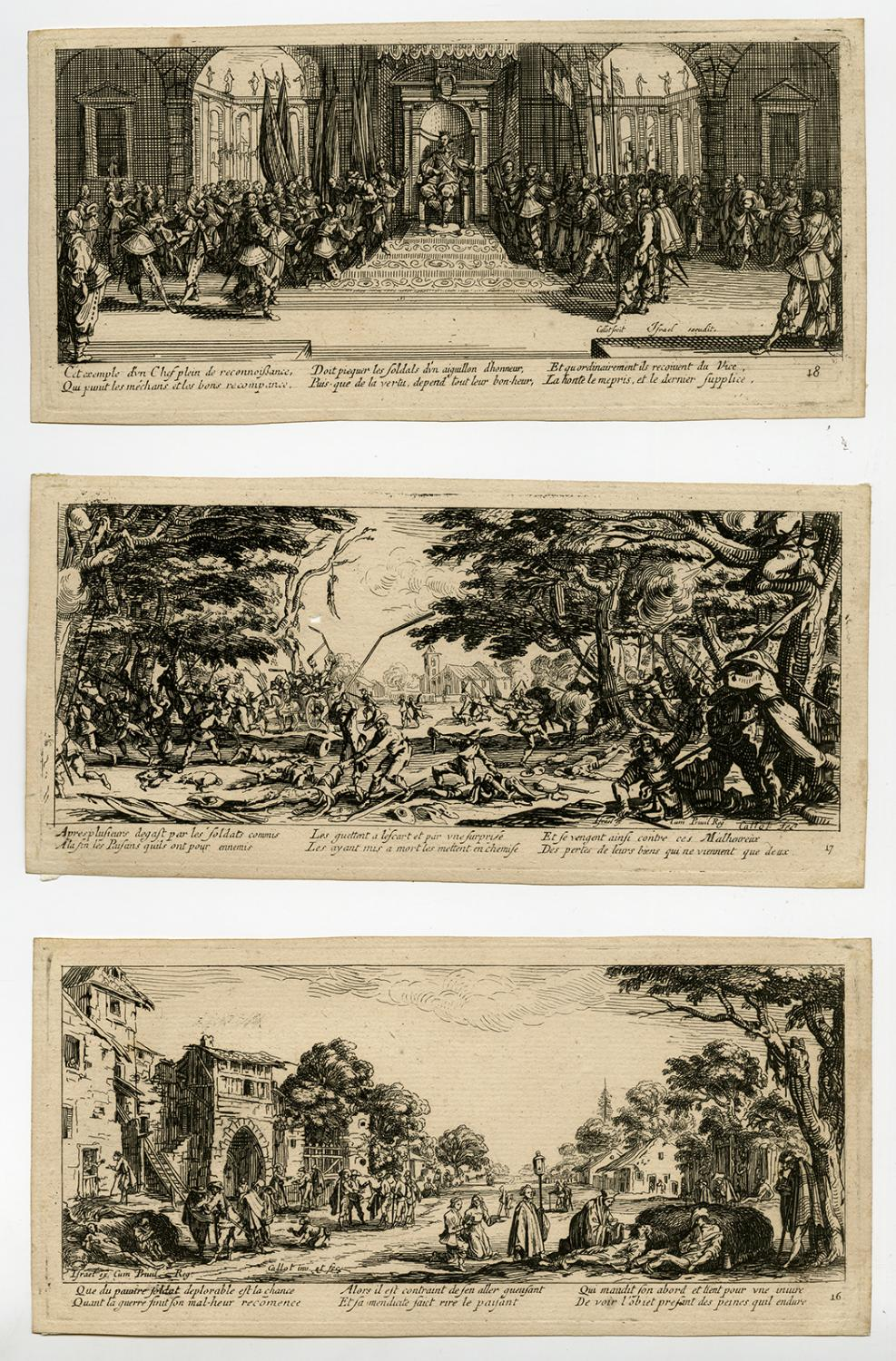 17 Jahrhundert Bild Architektur: 12 Antique Prints-GENRE-MISERES-GUERRE-MISERIES OF WAR