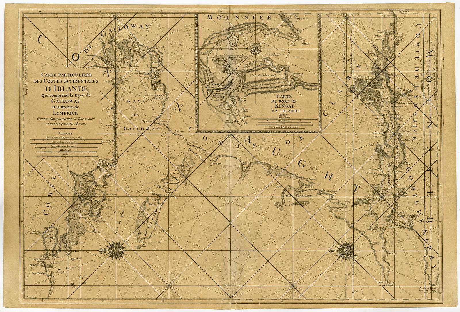 Galway Bay Ireland Map.Antique Print Galway Bay Limerick Ireland Seachart Jaillot Mortier