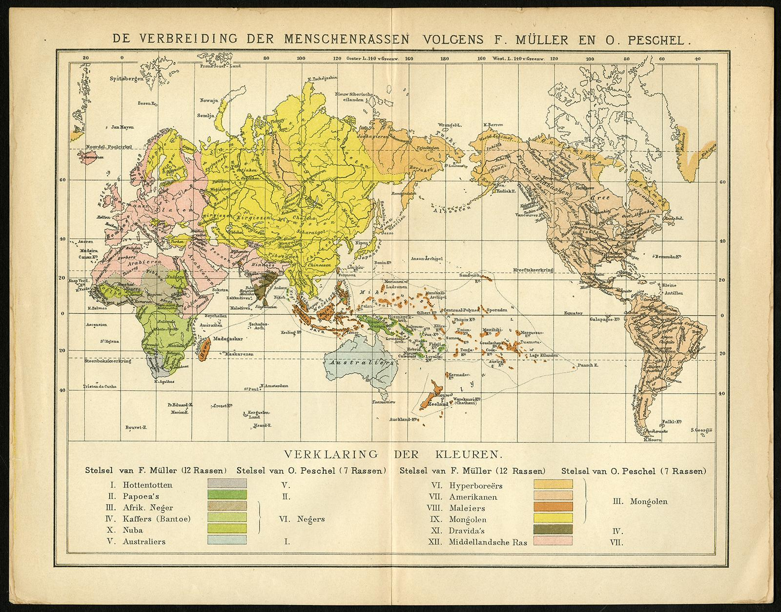 Races Of The World Map.Antique Map World Map Human Races Oosthoek 1893 Theprintscollector