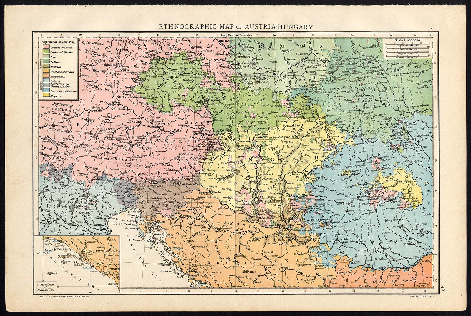 Antique Print / Map-AUSTRIA-HUNGARY-EMPIRE-DALMATIA-Atlas Publishing ...