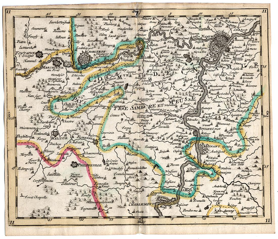 Kind-Hearted Rare Antique Map 13-belgium-flanders-brugge-oostende-sanson-mortier-1701 Europe Maps