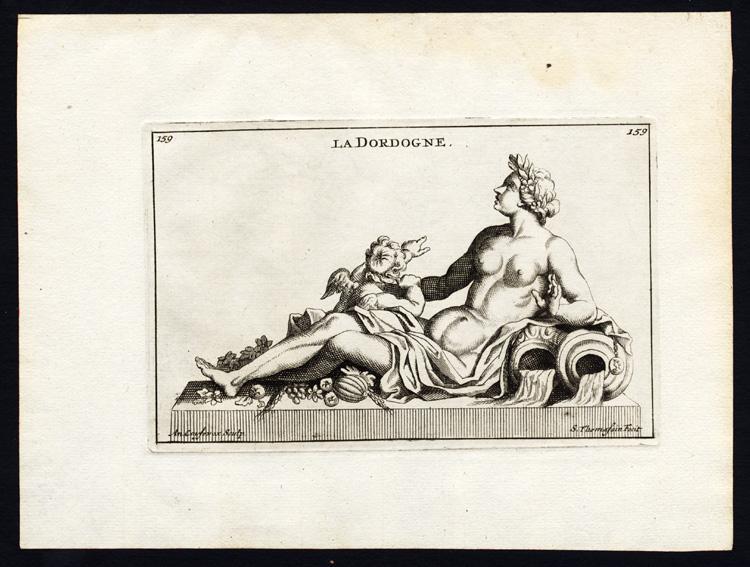 Antique Print-STATUE-DORDOGNE-RIVER-FRANCE-PERSONIFICATION-Thomassin-1695