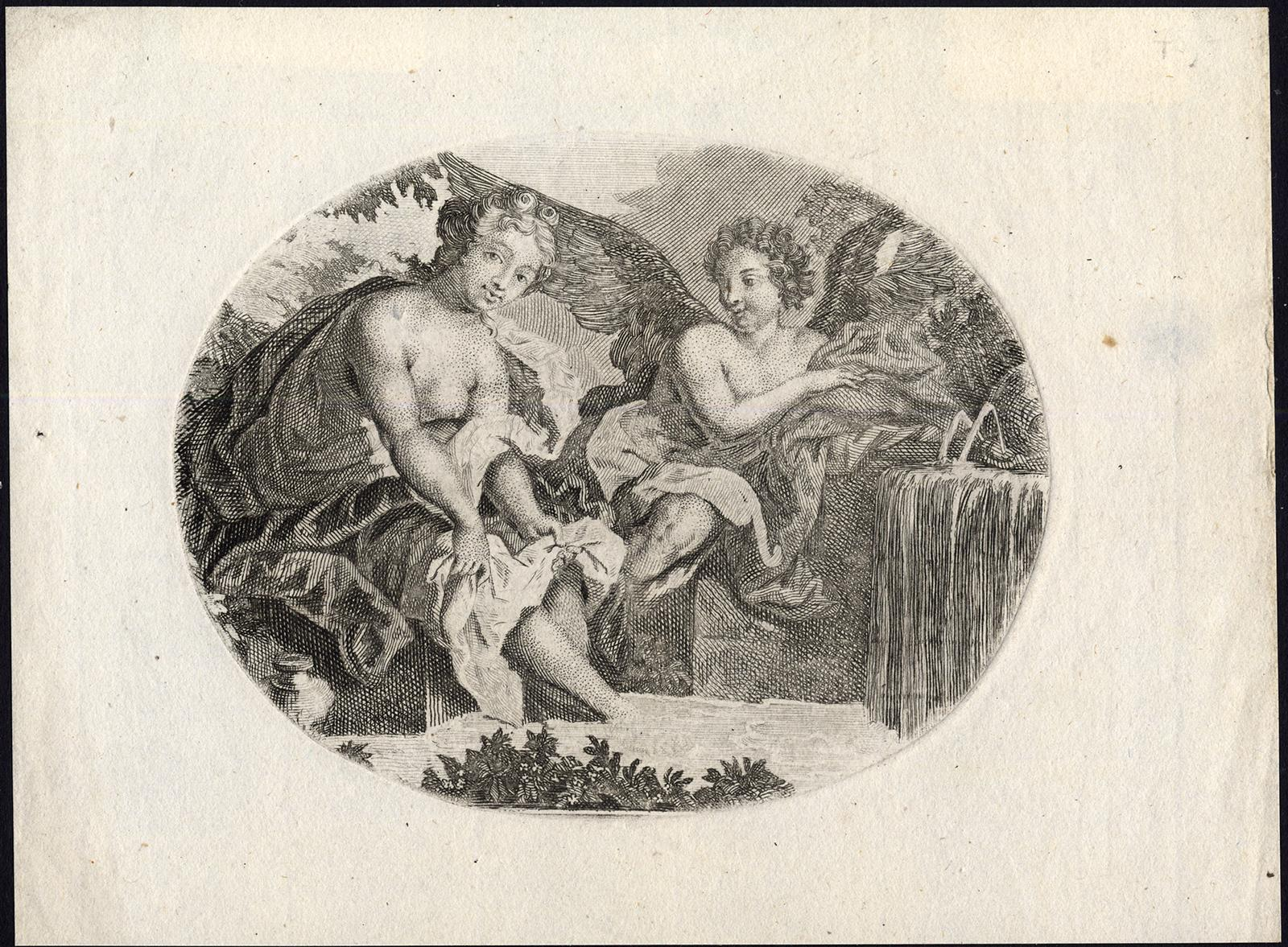 Antique Master Print-ANGEL-NUDE-WOMAN-WASHING CLOTHES-BASIN-c. 1780