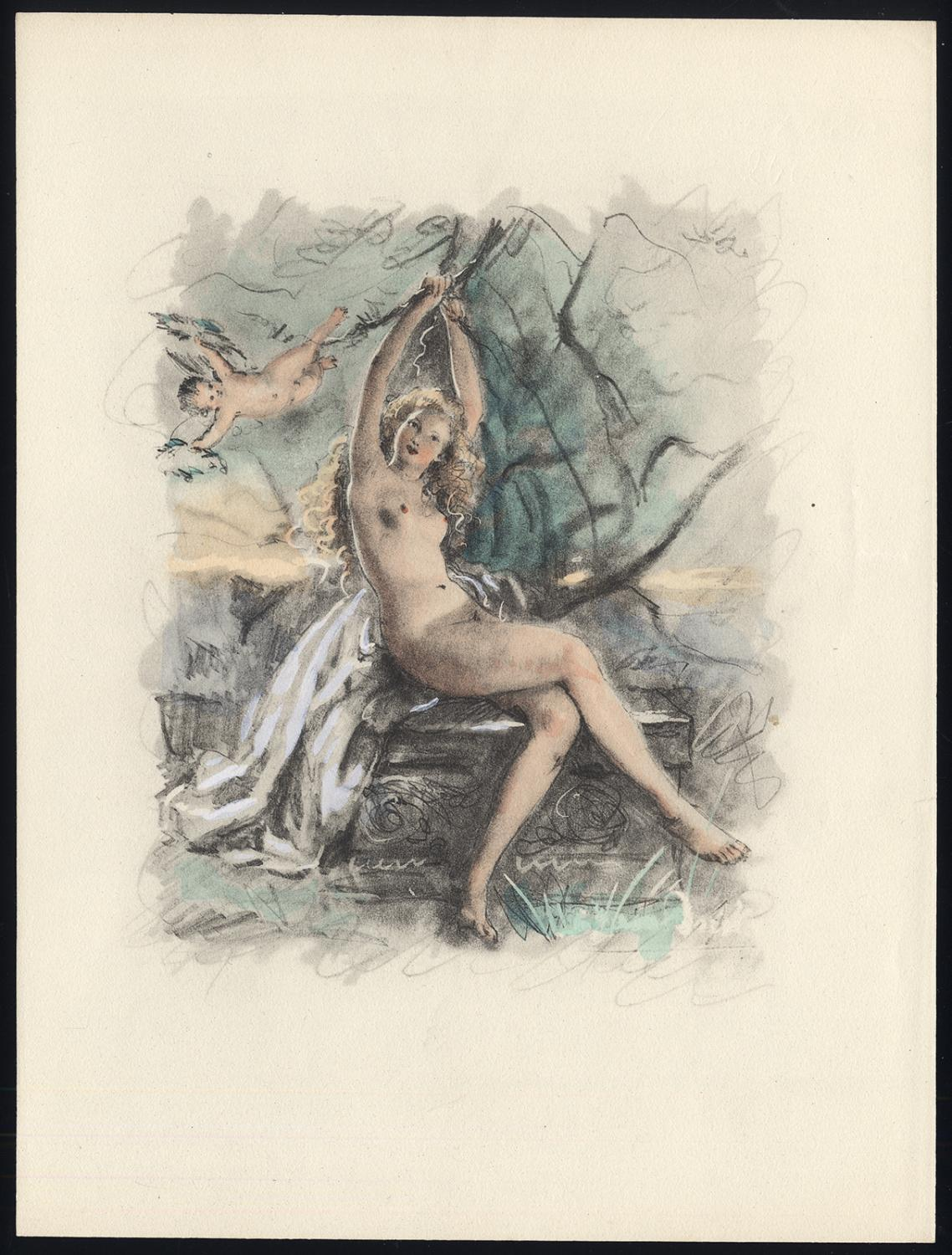 Original Print-NUDE FEMALE FIGURE-PUTTO-SEATED-1900