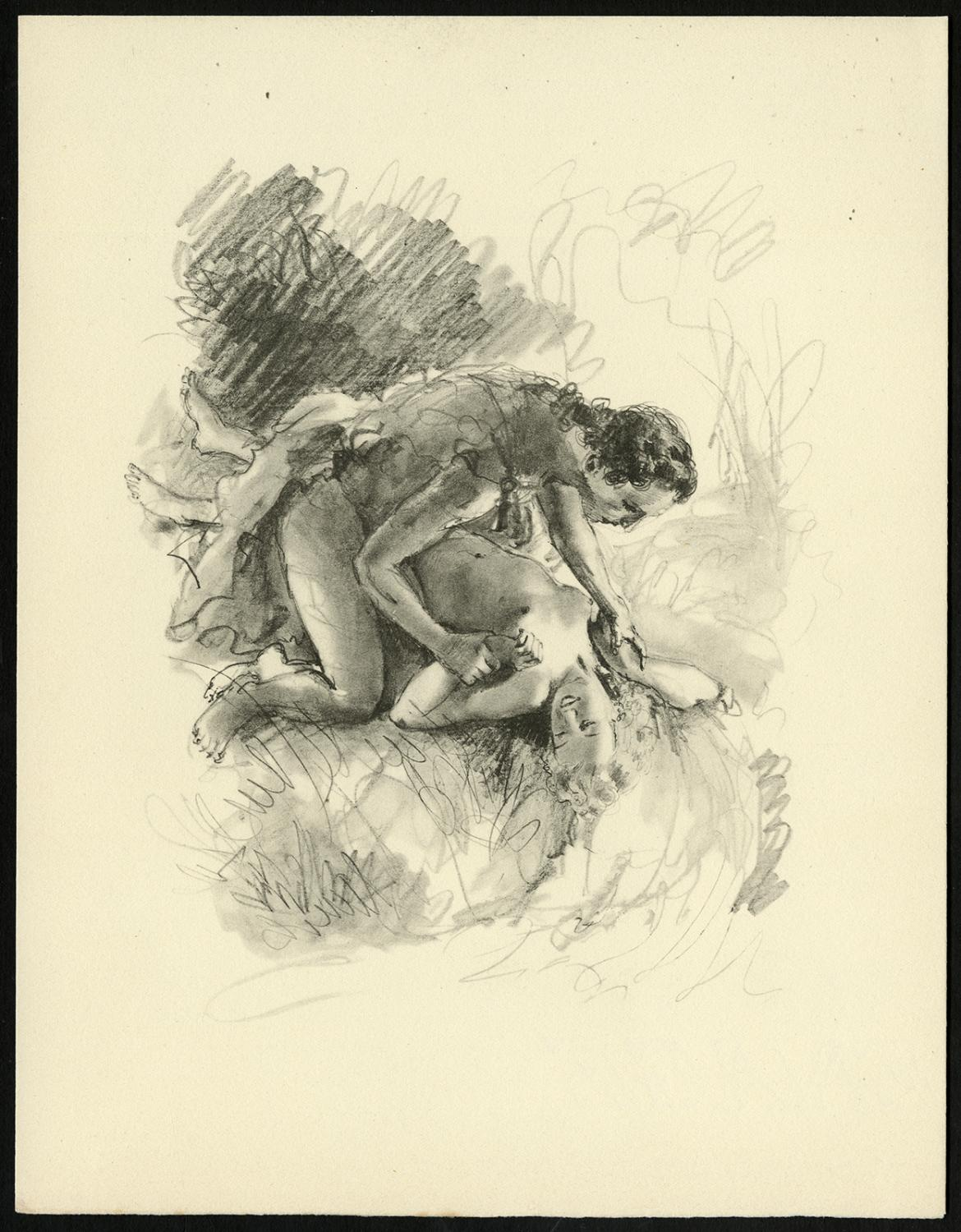 Original Print-COUPLE-BED-NAKED-LOVE-LAUGH-1900