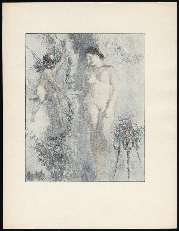 Original Print-STANDING NUDE-WOMAN-FEMALE-PUTTO-LEDGE-Henri le Riche-1940