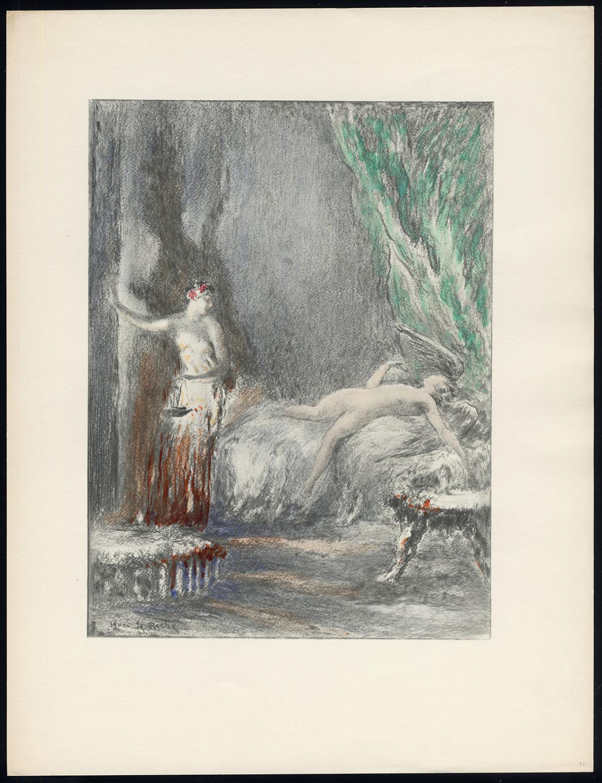 Original Print-FEMALE-NUDE-FOUR WOMEN-BED-PUTTI-Henri le Riche-1940
