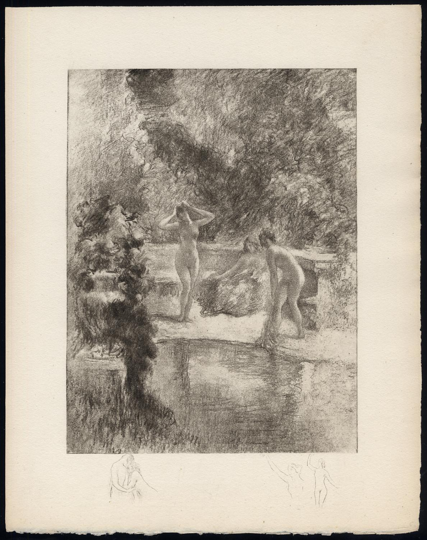 Original Print-POOL-FEMALE-NUDE-BENCH-BLACK-REMARQUE-Henri le Riche-1940